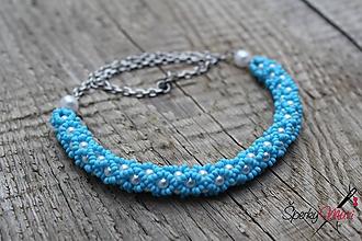 Náhrdelníky - náhrdelník dutinkový polovičný (náhrdelník bielo-modrý) - 10582772_