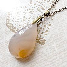 Náhrdelníky - Sakura Agate Teardrop Bronze Pendant / Prívesok slza s #2059 - 10583210_