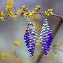 Náušnice - Kosočtverce - náušnice (fialové) - 10585521_