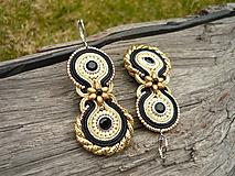 Náušnice - Soutache náušnice Black&Gold Elegant - 10586159_