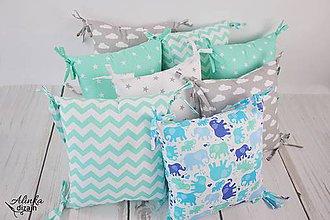Textil - Vankúšikové mantinely mentolové - 10583181_
