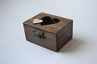 Prstene - krabička na prstienky čoko s malým srdiečkom - 10586147_