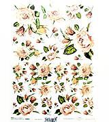 Papier - Ryžový papier na decoupage -A4-R892- ružičky, ruže - 10583347_