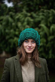 Čiapky - Chunky čiapka Katarina (Zelená) - 10583503_