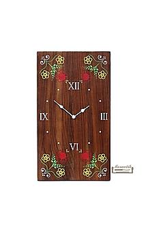 Hodiny - Orechové hodiny s kvetinovým motívom - 10584284_