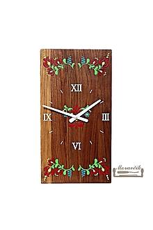 Hodiny - Orechové hodiny s kvetinovým motívom - 10584413_