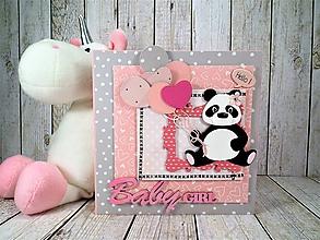 Papiernictvo - Panda Baby GIRL pohľadnica - 10583055_