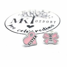 Náušnice - Náušničky pre radosť  (Srdce Sister & Mašlička) - 10585320_