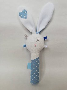 Hračky - Látková hrkálka - modrá (Modrá) - 10584979_