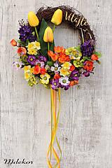 Dekorácie - Jarný veselý venček - 10584726_