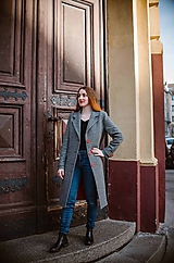 Kabáty - Vlnený kabát rybia kosť SEVERANKA - 10582639_
