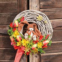 Dekorácie - Veľkonočný veniec so zajačikom - 10582905_