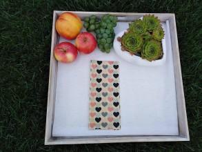 Úžitkový textil - Obrúsky s včelím voskom - srdiečko koral (30x40) - 10583001_