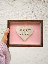 Darčeky pre svadobčanov - srdiečko v ráme ďakujem za všetko - 10584827_
