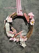 Dekorácie - venček na zavesenie-  pink - 10584951_