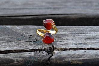 Prstene - Achát srdcia pozlátený prsteň Ag 925 - 10582694_