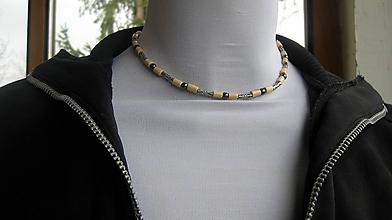 Šperky - Pánsky náhrdelník okolo krku z minerálov - chirurgická oceľ (hematit + drevené korálky, č. 2604) - 10584349_