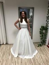 Šaty - Jednoduché saténové IVORY šaty - 10583937_