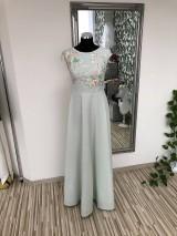 Šaty - Mentolové šaty s krajkou - 10584264_