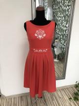Šaty - Oranžové vyšívané šaty - 10584288_