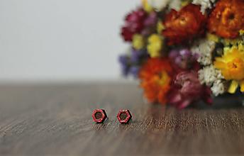 Náušnice - Mini  (Hexagon Červený) - 10585240_