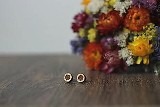 Náušnice - Mini  (Krúžok bielo-zlatý) - 10585290_