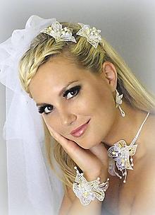 Náramky - Svatební květy náramek - 10586041_