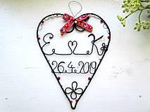 Srdiečko s iniciálmi a dátumom (Červená)
