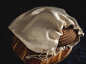 Úžitkový textil - Vrecko na chlieb z ľanového plátna - 10584303_