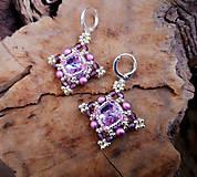 Náušnice - Visiace náušnice šité, fialové - 10584259_
