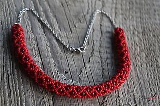 Náhrdelníky - náhrdelník dutinkový polovičný (náhrdelník bordový) - 10588238_