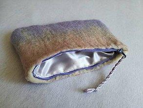 Taštičky - Fialovo-sivo-ružová plstená kapsička - 10587431_