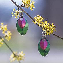 Náušnice - Náušnice Double Luxury - zelená a (růžová) - 10586897_