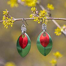 Náušnice - Náušnice Double Luxury - zelená a (červená) - 10586898_