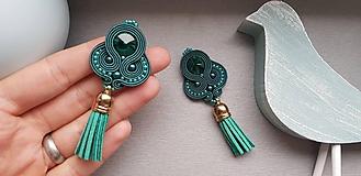 Náušnice - štebotavé strapce - ručne šité šujtášové náušnice - 10586894_