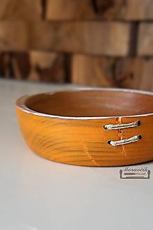 Nádoby - Buková miska oranžová prešívaná Ø18/5 - 10587043_