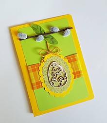 Papiernictvo - veľkonočná pohľadnica s bahniatkami a dreveným vajíčkom - 10587095_