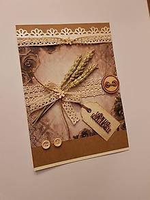 """Papiernictvo - gratulačná pohľadnica vintage s kláskami a dreveným nápisom """"všetko najlepšie"""" - 10588544_"""
