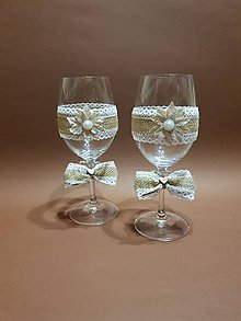 Nádoby - svadobné poháre vintage s jutovou mašľou - 10588900_