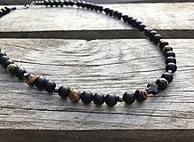 Šperky - Pánsky náhrdelník s krížikom - ónyx, tigrie oko, hematit - 10588433_