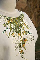 Tuniky - Ľanová maľovaná  blúzka