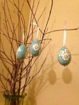 Dekorácie - Sada 3 ks - Vajíčka tyrkysové so sedmokráskami - 10589318_