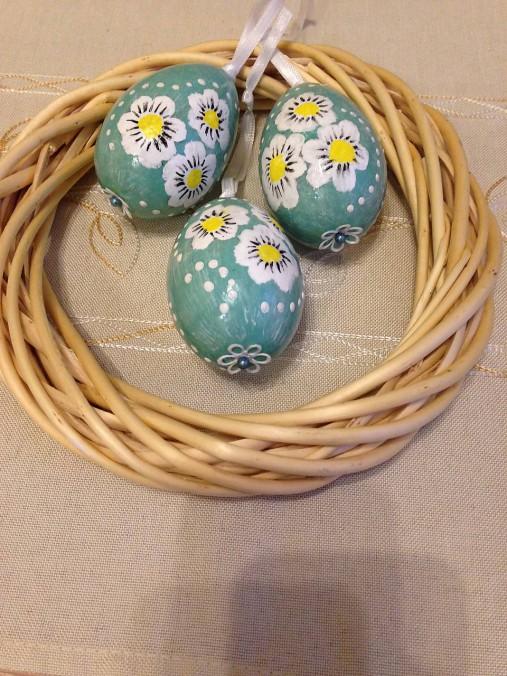 Sada 3 ks - Vajíčka tyrkysové so sedmokráskami