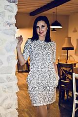 Šaty - Šaty basic vreckáče - sivá krajka - NEKOJO VARIANTA - 10586656_