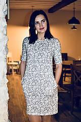 Šaty - Šaty basic vreckáče - sivá krajka - NEKOJO VARIANTA - 10586657_