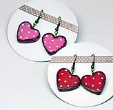 Náušnice - Srdce muchotrávky - náušnice - 10587190_