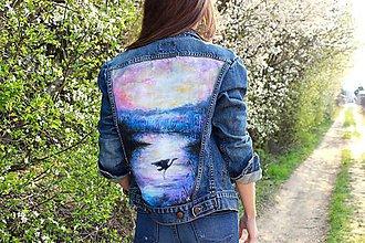 """Kabáty - Maľovaná bunda """"Misty Morning"""" (denim) - 10588396_"""