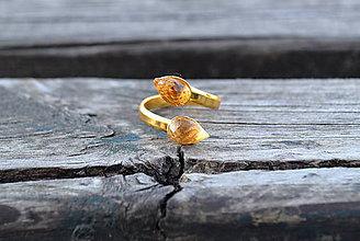 Prstene - Citrín duo prsteň Ag - 10589374_