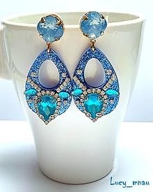 Náušnice - Náušnice Swarovski modro-tyrkysové:) - 10588388_