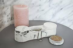 Nádoby - Betónový úložný mini box Locus Marble (Čierno-biela) - 10587342_